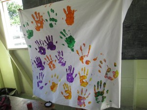 Hand mural completed by students.
