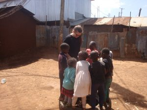 Playing with children near KCU office in Kibera